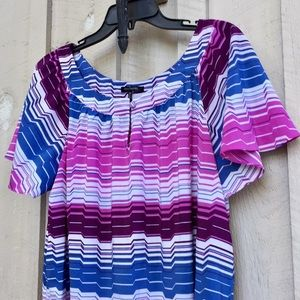 🌼 Daisy Fuentes Woman Colorful Striped Blouse 1X